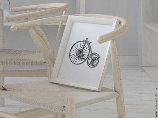 """Натюрморт ручной работы. Ярмарка Мастеров - ручная работа. Купить Панно """"Паук"""". Handmade. Велосипед, под старину, черный"""
