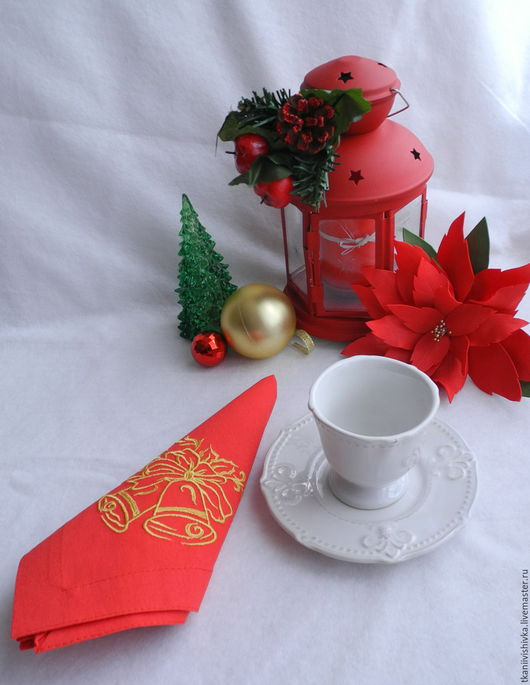"""Кухня ручной работы. Ярмарка Мастеров - ручная работа. Купить Набор салфеток """"Колокольчики"""". Handmade. Ярко-красный, новогодние подарки"""