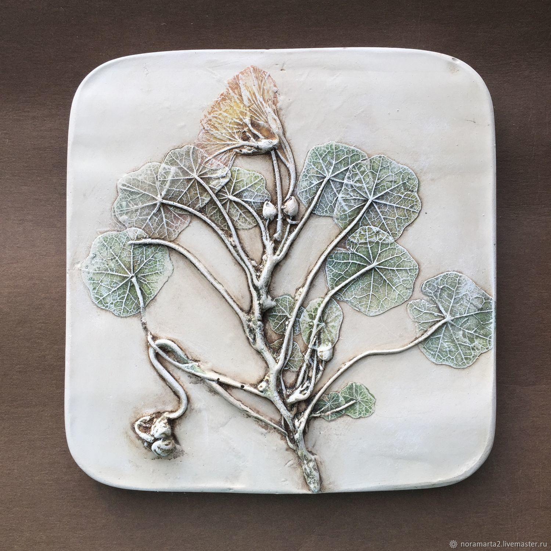 Барельеф Рейчел Дейн Гипсовое панно Отливки цветов Оттиски цветов Ботанический барельеф
