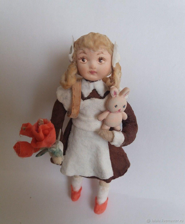 Коллекционные куклы ручной работы. Ярмарка Мастеров - ручная работа. Купить Ватная игрушка. Первоклашка. Handmade. Ватное папье-маше