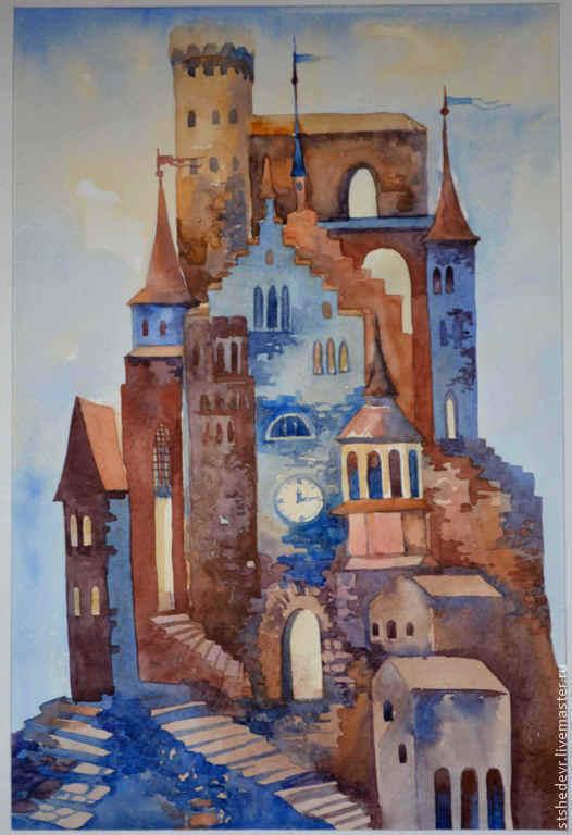 """Город ручной работы. Ярмарка Мастеров - ручная работа. Купить Акварельная картина """"Волшебные грёзы"""". Handmade. Голубой, песочный, город"""
