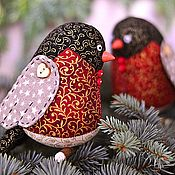 Подарки к праздникам handmade. Livemaster - original item Textile bird bullfinch. Handmade.
