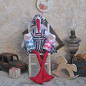 handmade. Livemaster - original item Tilda Animals: The decor in the style of the Tilde: The stork in the style of the Tilde. Handmade.