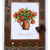 Открытки ручной работы. Ярмарка Мастеров - ручная работа Открытка с оранжевыми тюльпанами к дню рождения. Handmade.