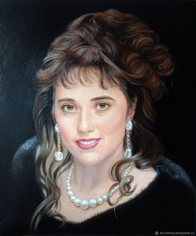 Портрет дамы на чёрном фоне. Чёрный, Картины, Москва,  Фото №1