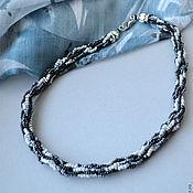 Украшения ручной работы. Ярмарка Мастеров - ручная работа Серый жгут, шнур из бисера, плетение. Handmade.