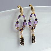 Украшения handmade. Livemaster - original item Ring earrings: made of amethyst, pearls, charoite. Handmade.