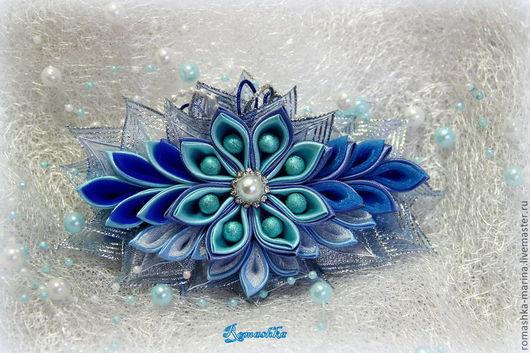 """""""Матушка-зима""""-заколка-автомат из моей серии """"Времена года""""- самые выразительные краски зимы подарят ощущение праздника и выделят Вас из толпы.\r\nРабота Покусаевой Марины (Romashk"""