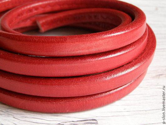 Для украшений ручной работы. Ярмарка Мастеров - ручная работа. Купить Шнур кожаный для regaliz (регализ) 10х6мм красный. Handmade.