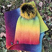 handmade. Livemaster - original item Set rainbow (LIC in 2 turns hat with pompom). Handmade.