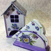 Для дома и интерьера ручной работы. Ярмарка Мастеров - ручная работа Чайный домик и салфетница Анютины глазки. Handmade.