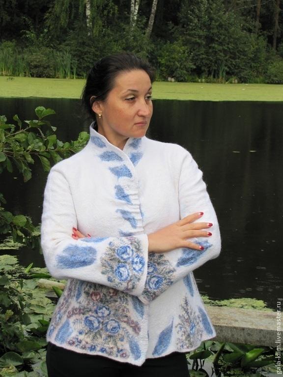 Felted jacket 'Gzhel', Klimkin Galina, Suit Jackets, Losino-Petrovsky,  Фото №1
