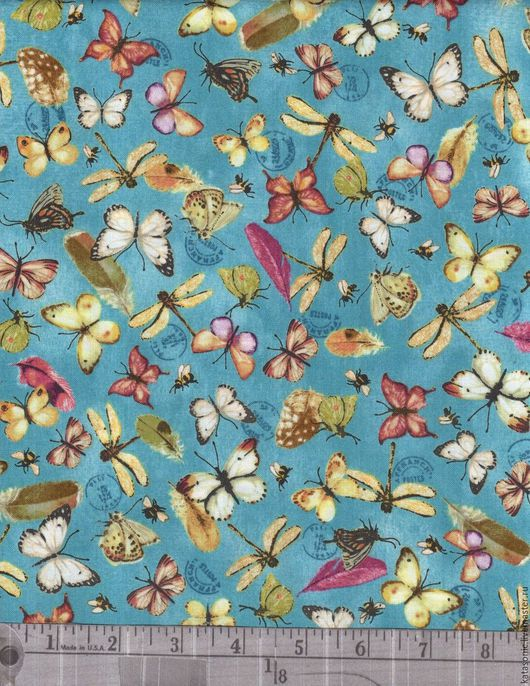 Шитье ручной работы. Ярмарка Мастеров - ручная работа. Купить 1189 Остаток. Бабочки.  Американская ткань. Handmade. Голубой