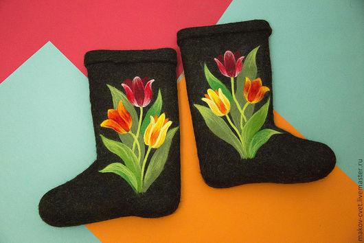 """Обувь ручной работы. Ярмарка Мастеров - ручная работа. Купить Валенки """"В ожидании весны"""". Handmade. Валенки, авторские валенки"""