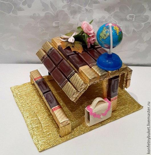 Букеты ручной работы. Ярмарка Мастеров - ручная работа. Купить конфетный подарок на 1 сентября и день учителя. Handmade. Разноцветный