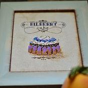 """Картины и панно ручной работы. Ярмарка Мастеров - ручная работа Черничное пирожное из серии """" Французская кондитерская """". Handmade."""