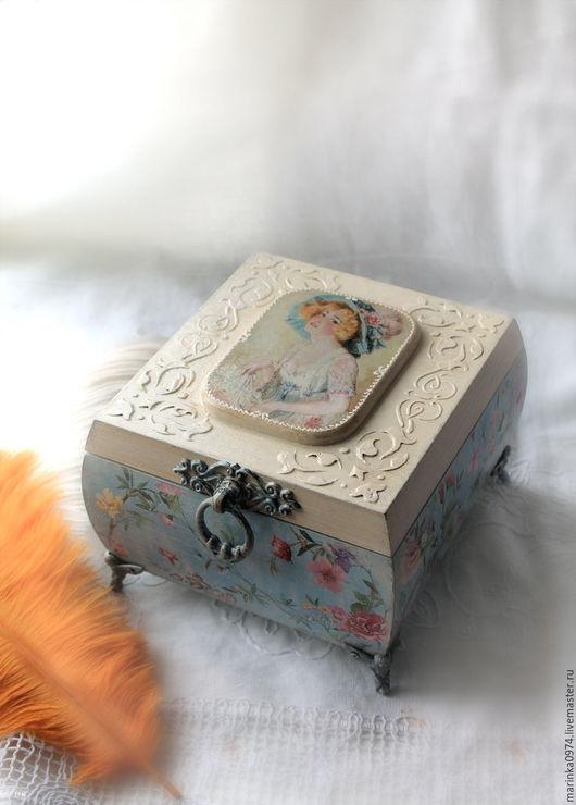 """Шкатулки ручной работы. Ярмарка Мастеров - ручная работа. Купить Шкатулка большая, бочонок  """" Счастье есть"""". Handmade. Голубой"""