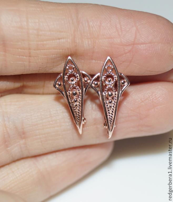 Earrings openwork filigree with gilding 585, Schwenzy, Kostroma,  Фото №1