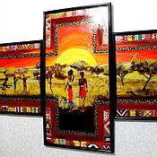 Картины и панно ручной работы. Ярмарка Мастеров - ручная работа триптих Африка. Handmade.