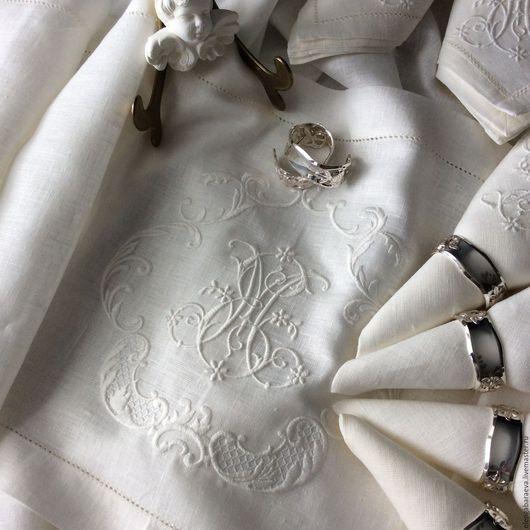 Текстиль, ковры ручной работы. Ярмарка Мастеров - ручная работа. Купить Скатерть дорожка салфетки с вышивк- Винтажная Монограмма МЕ. Handmade.