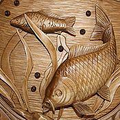 Картины и панно ручной работы. Ярмарка Мастеров - ручная работа Панно ;Под водой:резьба по дереву. Handmade.
