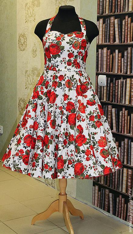 """Платья ручной работы. Ярмарка Мастеров - ручная работа. Купить Платье в ретро стиле """"Красная роза/Rose Red"""". Handmade. Ретро"""