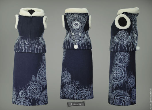 """Жилеты ручной работы. Ярмарка Мастеров - ручная работа. Купить Жилет  и юбка """"Другие миры"""". Handmade. Синий, орнамент"""