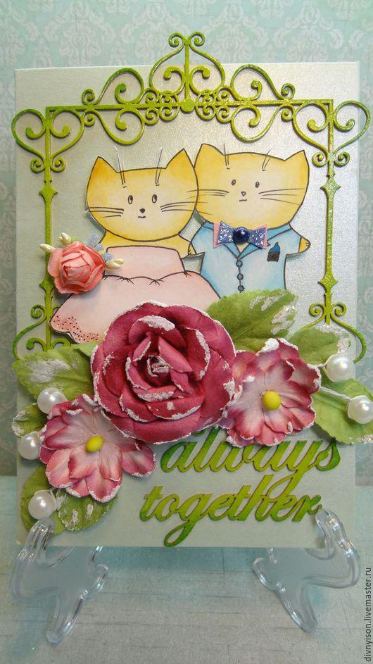 """Свадебные открытки ручной работы. Ярмарка Мастеров - ручная работа. Купить Открытка """"Свадебные котики"""". Handmade. Ярко-зелёный, что подарить"""