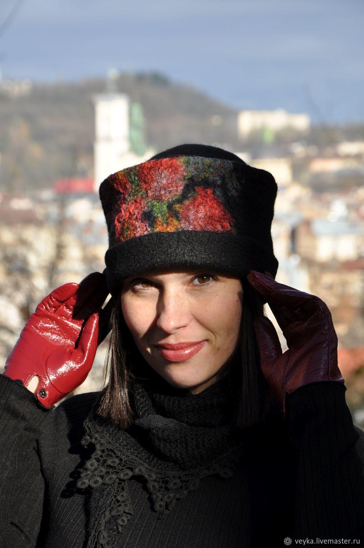 Валяная шляпка из натуральной шерсти, Шапки, Львов, Фото №1