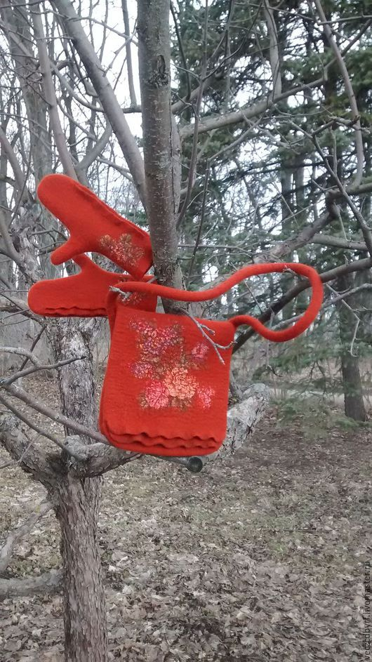 Сумки и аксессуары ручной работы. Ярмарка Мастеров - ручная работа. Купить сумка валяная + варежки. Handmade. Рыжий