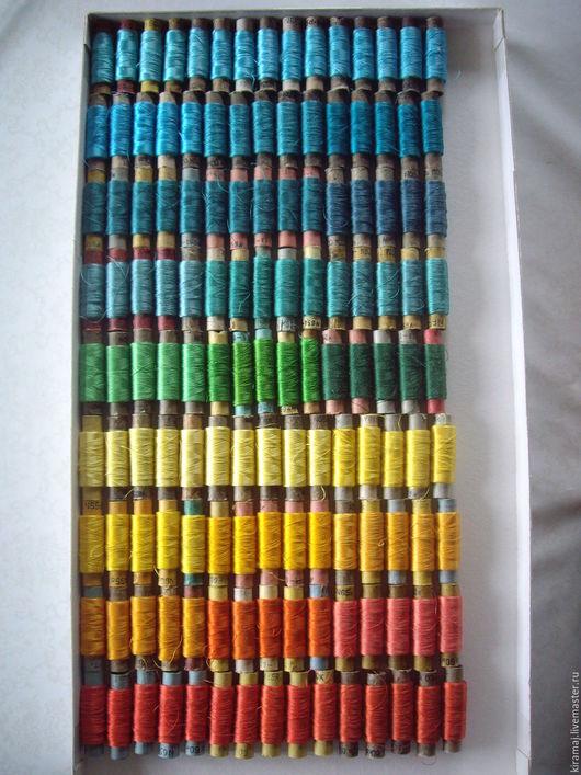 Вышивка ручной работы. Ярмарка Мастеров - ручная работа. Купить Шелковые нитки №65 без вискозы, бирюзово-желтые. Handmade.