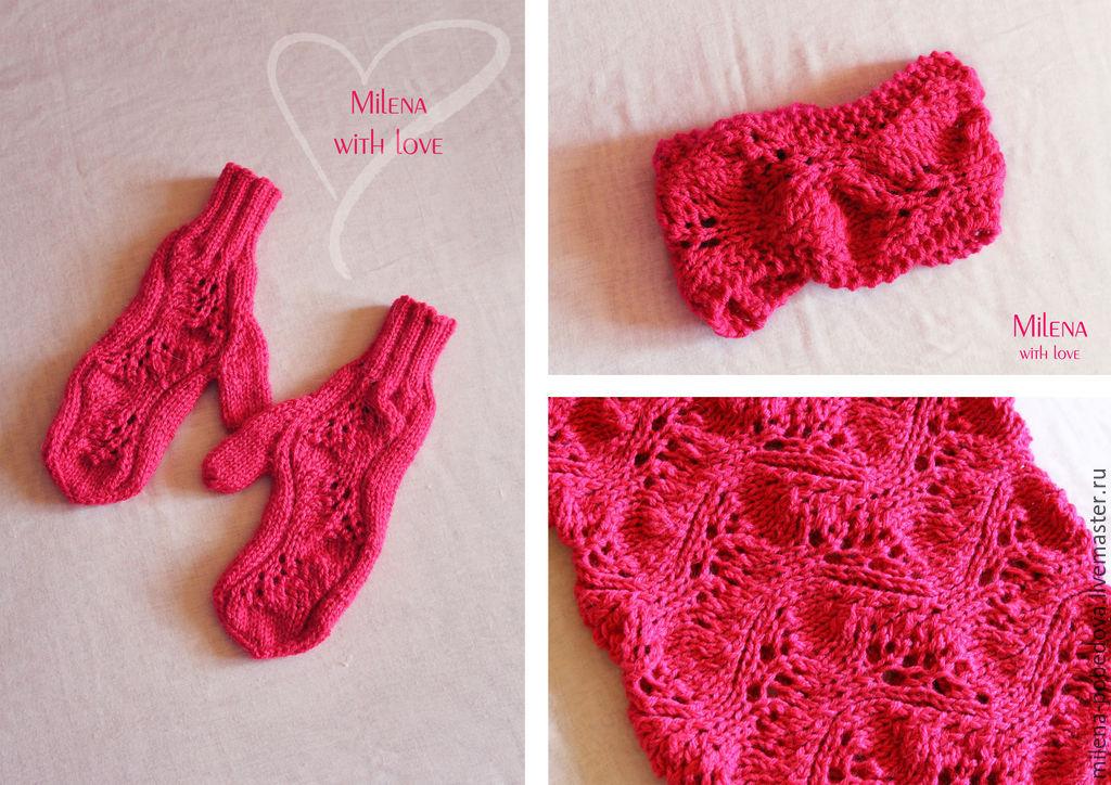 Set knitted Malinki, scarf - snud, bandage and mittens, Headwear Sets, Minsk,  Фото №1