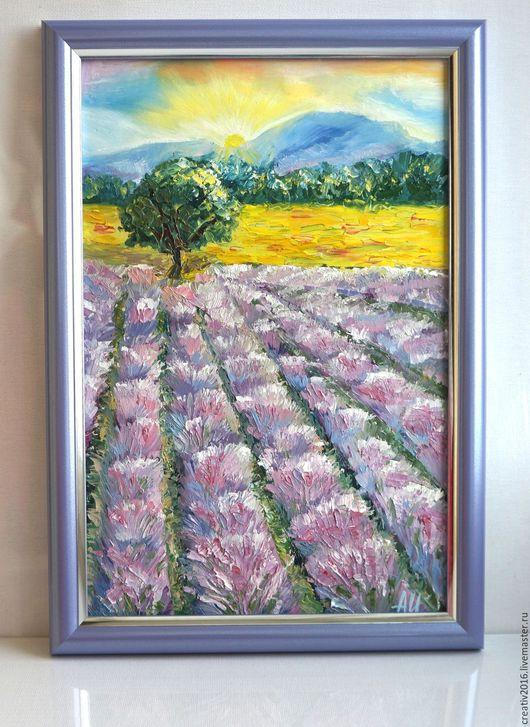 """Пейзаж ручной работы. Ярмарка Мастеров - ручная работа. Купить Картина """"Лавандовые поля"""". Handmade. Сиреневый, лавандовый, Франция"""