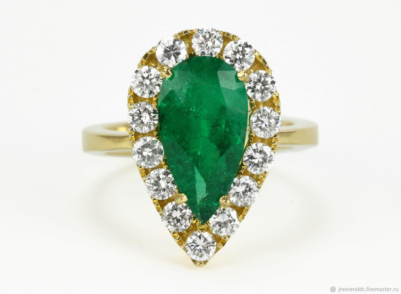 18K 4.48tcw Fine Quality Pear Emerald Cocktail Ring, Pear Emerald Diam, Rings, West Palm Beach,  Фото №1