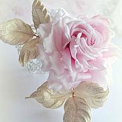 Украшения ручной работы. Ярмарка Мастеров - ручная работа Цветы из шелка Брошь Розовое утро. Handmade.
