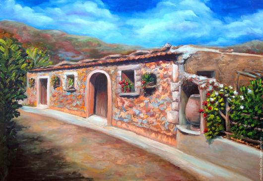 Город ручной работы. Ярмарка Мастеров - ручная работа. Купить Старая Греция. Handmade. Бежевый, горы, домик, уютный дом