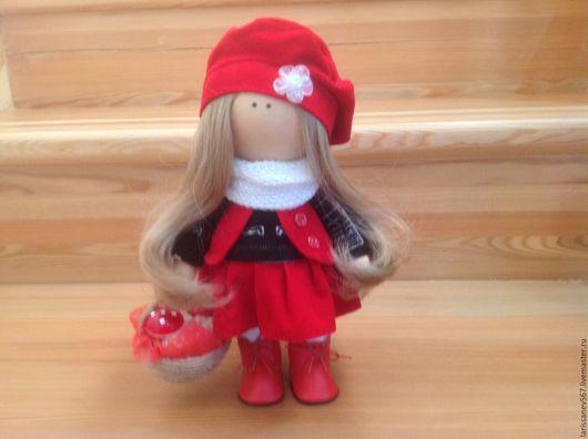 Куклы тыквоголовки ручной работы. Ярмарка Мастеров - ручная работа. Купить Кукла Машенька. Handmade. Ярко-красный, кукла в подарок