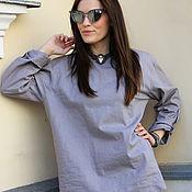 Одежда ручной работы. Ярмарка Мастеров - ручная работа Рубашка льняная Grey Zephyr. Handmade.
