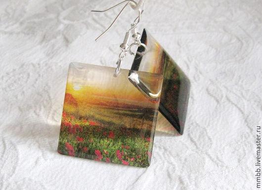 Распродажа Прозрачные серьги Маки Закат Поле Красный Желтый Неон Вечер, маки в поле на закате горизонт солнце вечер, прозрачные серьги квадратные, Душевные штуки