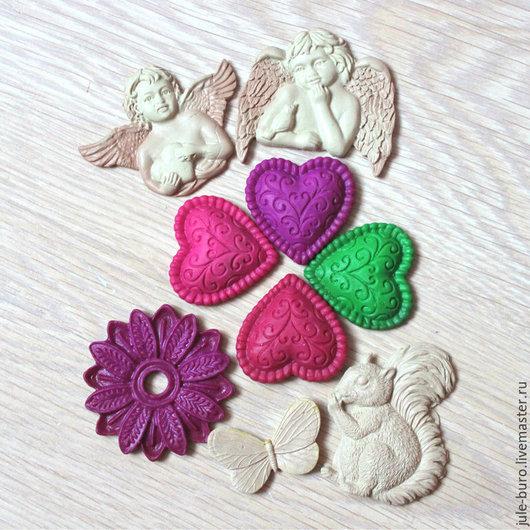 Открытки и скрапбукинг ручной работы. Ярмарка Мастеров - ручная работа. Купить Декоративные элементы из глины. Handmade. Ангел, сердце, цветок