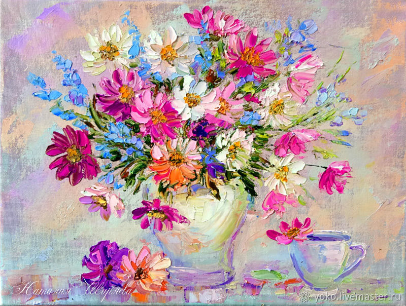 Painting Flowers In A Vase Bouquet In Pink Oil On Canvas Shop