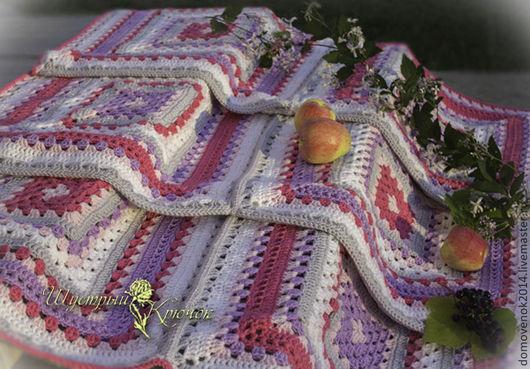 Текстиль, ковры ручной работы. Ярмарка Мастеров - ручная работа. Купить Плед Ягодное суфле. Handmade. Розовый, плед вязаный