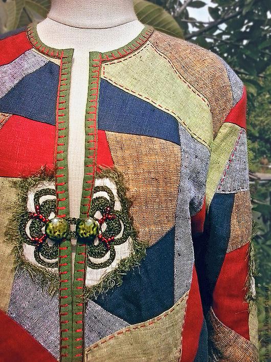 Пиджаки, жакеты ручной работы. Ярмарка Мастеров - ручная работа. Купить Жакет летний льняной пэчворк РУССКИЕ СЕЗОНЫ. Handmade.