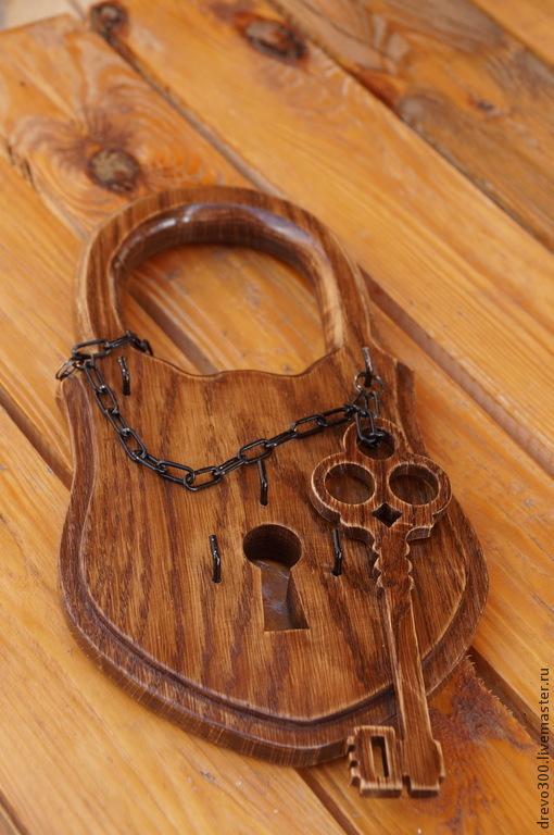 """Прихожая ручной работы. Ярмарка Мастеров - ручная работа. Купить Ключница """"ЗамОк"""" большой. Handmade. Коричневый, ключница в прихожую, для ключей, на счастье"""