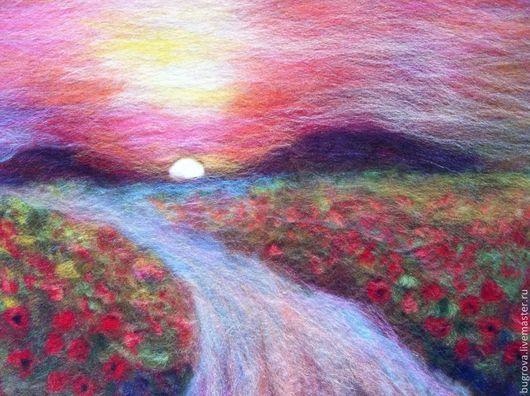 Пейзаж ручной работы. Ярмарка Мастеров - ручная работа. Купить Восход. Handmade. Розовый, горы, маки, цветы, шерсть, пластик