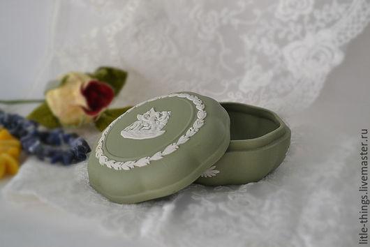 Винтажная посуда. Ярмарка Мастеров - ручная работа. Купить Шкатулка WEDGWOOD Англия. Handmade. Оливковый, старинный, джаспер, фарфоровый подарок