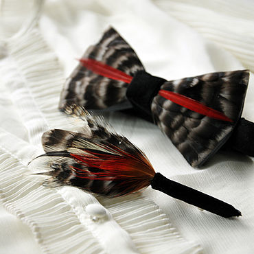 Accessories handmade. Livemaster - original item Bow tie and boutonniere set with rooster and pheasant feathers. Handmade.