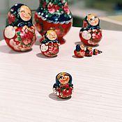 Русский стиль handmade. Livemaster - original item Matryoshka 10-seat painted with different emotions, 15 cm. Handmade.