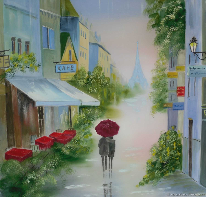 Город ручной работы. Ярмарка Мастеров - ручная работа. Купить Картина. Двое под дождем. Handmade. Любовь, голубой, картина
