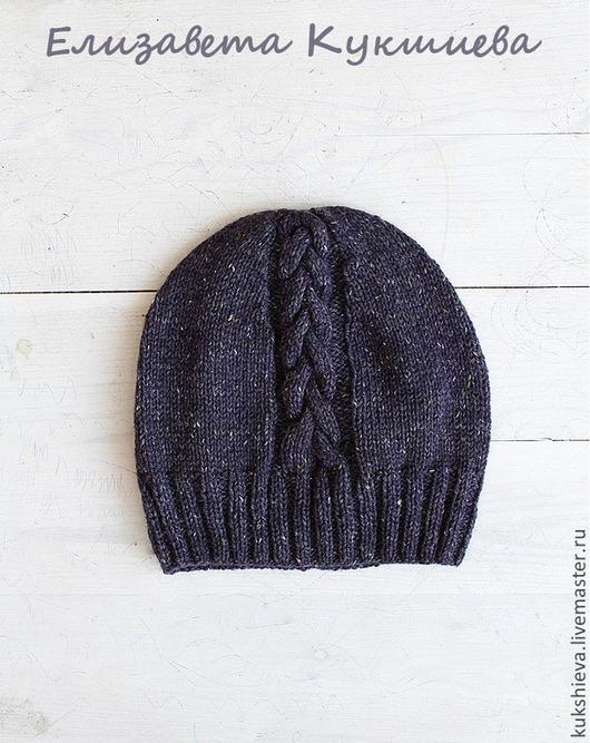 Шапки ручной работы. Ярмарка Мастеров - ручная работа. Купить Твидовая шапочка с косой темно-сливовая. Handmade. Тёмно-фиолетовый